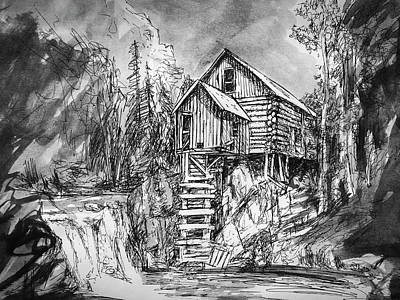 Drawing - Quick Sketch - Crystal Mill by Aaron Spong
