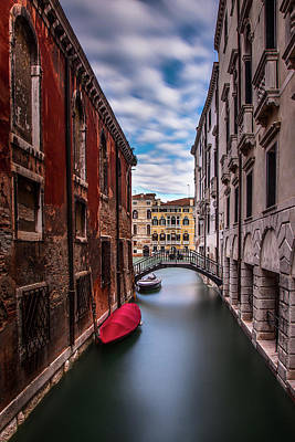 Red Photograph - Quiet Canal In Venice by Andrew Soundarajan