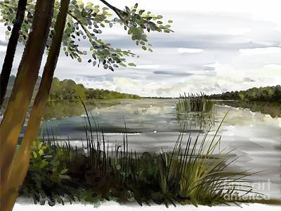 Painting - Quiet Day By Lake by Ivana Westin