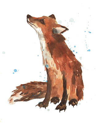 Foxes Painting - Quiet Fox by Alison Fennell
