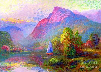 Colorful Landscape Painting -  Sailing Into A Quiet Haven by Jane Small