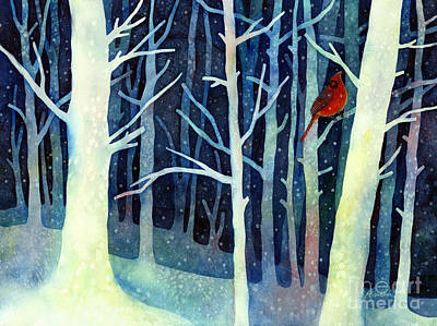 Birds In Snow Wall Art - Painting - Quiet Moment by Hailey E Herrera