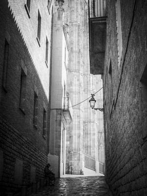 Photograph - Quiet Moment Near Barcelona Cathedral, B/w by Valerie Reeves