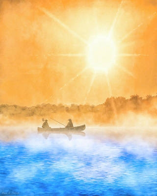 Quiet Moments - Fishing At Dawn Art Print