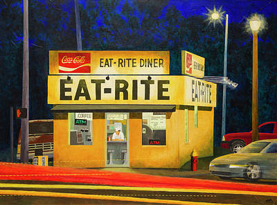 Painting - Quiet Night At Eat Rite Diner by Garry McMichael