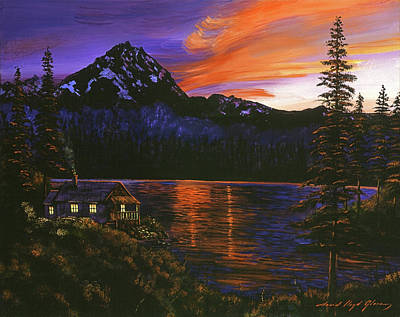 Pine Tree Painting - Quiet Night by David Lloyd Glover