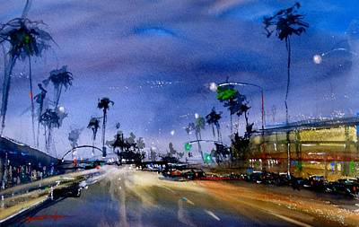 Painting - Quiet Night In Newport Beach by Sandra Strohschein