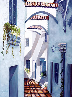 Blue And White Painting - Quiet Quarter by Mary Grden Fine Art Oil Painter Baywood Gallery