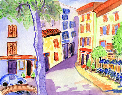 Watercolor Painting - Quiet Tuscan Village by Arlene  Wright-Correll