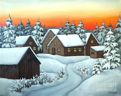 Painting - Quiet Winter Night by Inese Poga