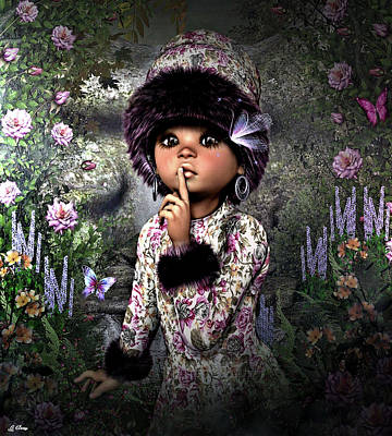 Little Girls Mixed Media - Quiet Zone by G Berry