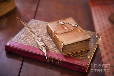 Photograph - Quill And Reading Glasses And Book by David Arment