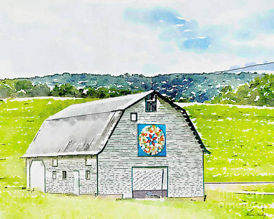 Barn Painting - Quilt Barn Digital Watercolor by Kerri Farley