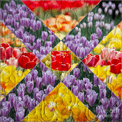 Pretty Quilts Photograph - Quilt Block Flowers by Tom Gari Gallery-Three-Photography