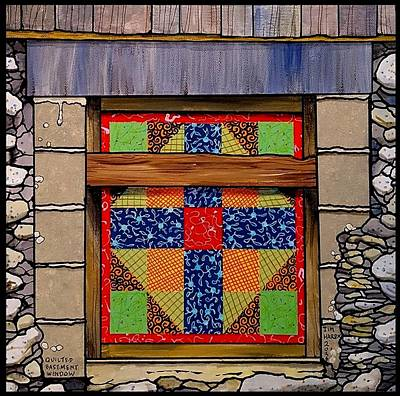 Block Quilts Painting - Quilted Basement Window by Jim Harris