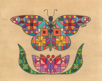 Quilted Butterfly Art Print