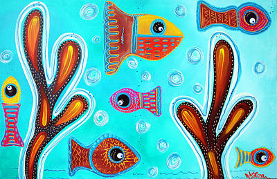 Fish Underwater Painting - Quilted Fish by Laura Barbosa