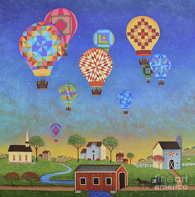 Hot Air Balloon Painting - Quilted Sky by Mary Charles