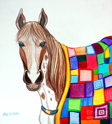 Quilted Stallion Art Print by Nick Gustafson