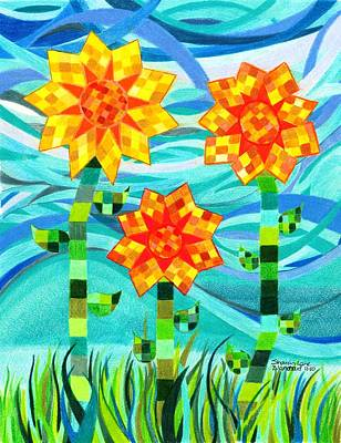Quilted Sunflowers Art Print