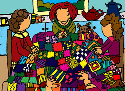 Patchwork Quilts Digital Art - Quilting by Nanette Patricia Evans