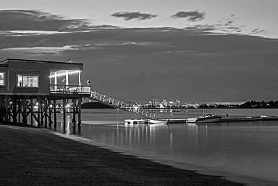 Photograph - Quincy Ma Wollaston Beach As Dusk Black And White by Toby McGuire