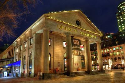 Faneuil Hall Photograph - Quincy Market - Go Pats - Boston by Joann Vitali