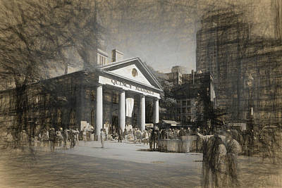 Drawing - Quincy Market In Boston by Thomas Logan