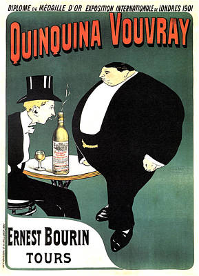 Mixed Media - Quinquina Vouvray - Ernest Bourin Tours - Vintage Art Nouveau Poster - Aperitif by Studio Grafiikka