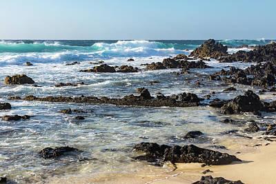 Photograph - Quintessential Hawaii - Rough Lava Rocks And Surf by Georgia Mizuleva