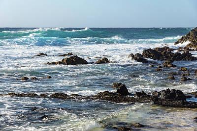 Photograph - Quintessential Hawaii - Rough Lava Rocks And Waves by Georgia Mizuleva