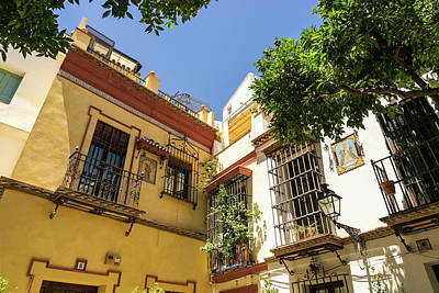 Photograph - Quintessential Spain - Sevillian Facades In White And Cyber Yellow by Georgia Mizuleva
