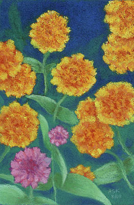 Pastel - Quintet Marigolds by Anne Katzeff