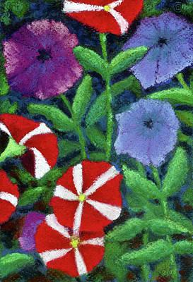 Pastel - Quintet Petunias by Anne Katzeff