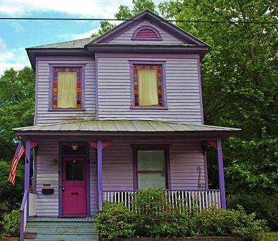 Purple Grapes Digital Art - Quirky Purple House by Cynthia Guinn