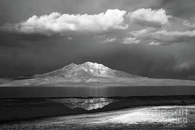 Photograph - Quisi Quisini Volcano And Lake Chungara In Black And White Chile by James Brunker