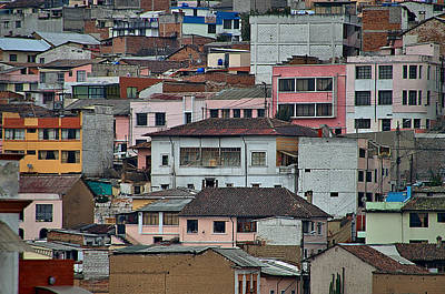 Red Roses - Quito Buildings by Steven Richman