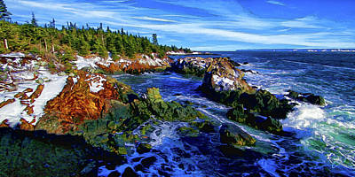 Digitally Manipulated Photograph - Quoddy Coast With Snow by ABeautifulSky Photography by Bill Caldwell