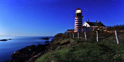 West Quoddy Head Lighthouse Photograph - Quoddy Head By Moonlight by ABeautifulSky Photography by Bill Caldwell