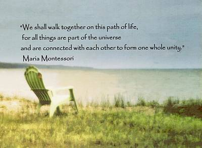 Photograph - Quote By Maria Montessori Beach Scene by Marysue Ryan