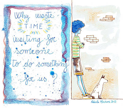 Brick Schools Drawing - Quote Watercolor Artwork by Roberta Mazzoni