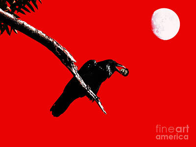 Raven Digital Art - Quoth The Raven Nevermore . Red by Wingsdomain Art and Photography