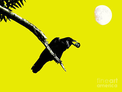 Quoth The Raven Nevermore . Yellow Art Print by Wingsdomain Art and Photography