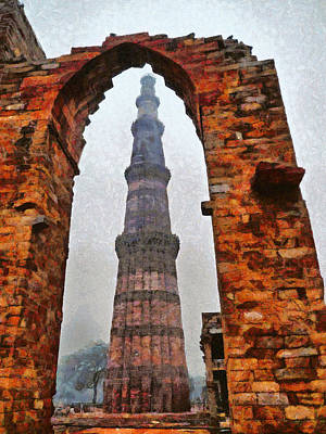 Pop Art - Qutub Minar framed by brick arch by Ashish Agarwal
