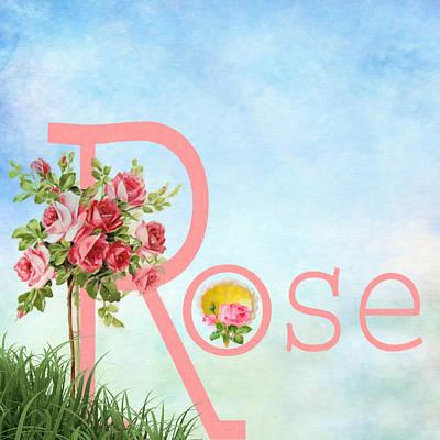 R For Rose Art Print