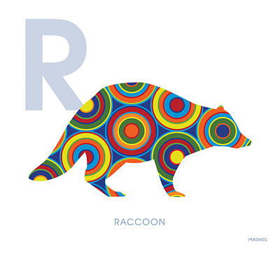 Raccoon Digital Art - R Is For Raccoon by Ron Magnes