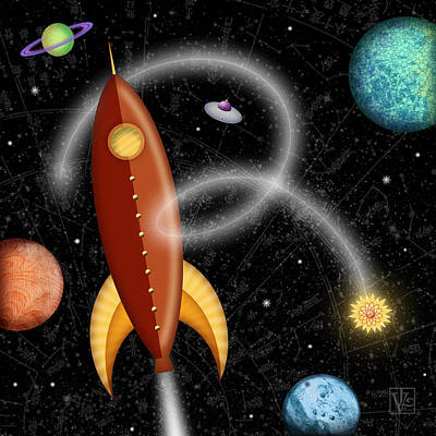 Space Mixed Media - R Is For Rocket by Valerie Drake Lesiak