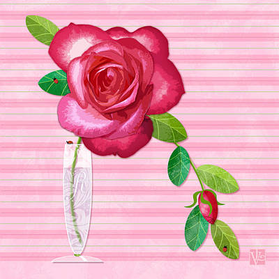 Flowers In Vase Mixed Media - R Is For Rose by Valerie Drake Lesiak