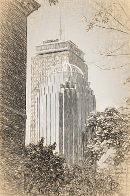 Drawing - R2d2 Building And The Prudential Center by Thomas Logan