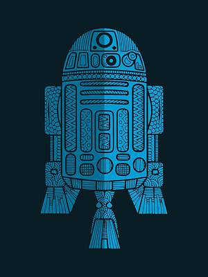R2d2 - Star Wars Art - Blue 2 Art Print